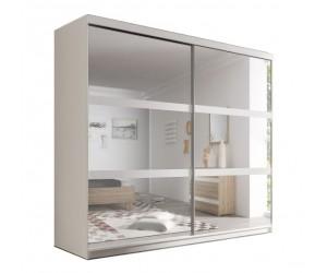 Armoire adulte design blanche Genny-203cm, 2 portes coulissantes avec miroirs.
