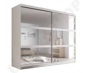 Armoire adulte design blanche Genny-233cm, 2 portes coulissantes avec miroirs.