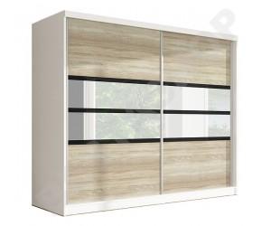 Armoire design 2 portes coulissantes blanche et noire / chêneTraviata.-233cm
