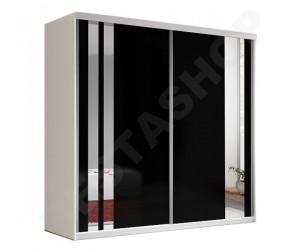Armoire adulte design noire et blanche decor miroir, 2 portes coulissantes milan-203cm