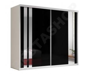 Armoire adulte design noire et blanche decor miroir, 2 portes coulissantes Milan-233cm