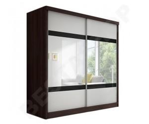 Armoire 2 portes coulissantes coloris blanc/wenge Lidia 183cm