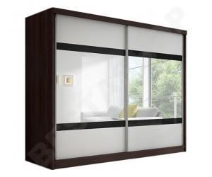 Armoire 2 portes coulissantes coloris blanc/wenge Lidia 233cm