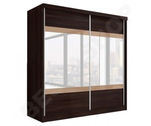 Armoire portes coulissantes wenge/cappucino avec miroir design Ombrine-203cm