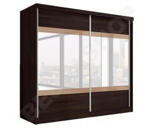 Armoire portes coulissantes wenge/cappucino avec miroir design Ombrine-233cm