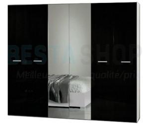 Armoire adulte 6 portes design blanc/noir laqué ELINOR