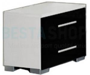 Chevet design 2 tiroirs blanc/noir laqué ELINOR