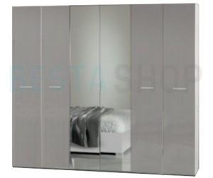 Armoire adulte 6 portes design blanc/gris laqué GLORIO