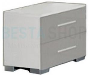 Chevet design 2 tiroirs blanc/gris laqué GLORIO