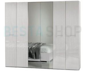 Armoire adulte 6 portes design blanc laqué ELEANE