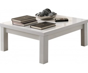 Table basse carrée design 100 cm blanc laquee