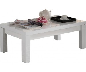 Table basse rectangulaire design laquée blanc MARINA