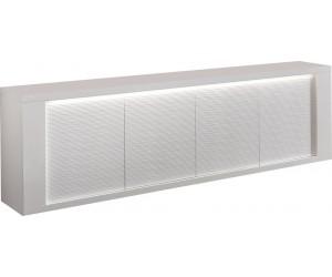 Bahut design blanc laqué brillant avec éclairages MARINA