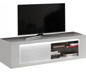 Meuble TV 1 porte 150cm blanc laqué avec éclairages MARINA