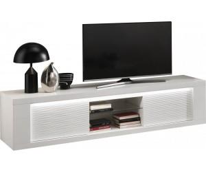 Meuble TV 2 portes 195 cm blanc laqué avec éclairages MARINA