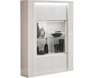Vaisselier/argentier design 2 portes vitrées laqué blanc MARINA