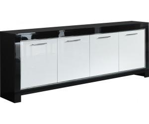 Bahut design 4 portes battantes coloris noir et blanc laqué DINA