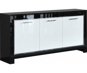 Bahut design 3 portes battantes coloris noir et blanc laqué DINA