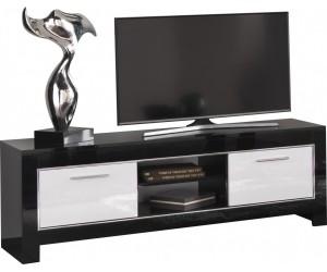 Meuble TV 2 portes 160 cm noir et blanc laqué-DINA