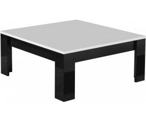 Table basse carrée design 100 cm noir et blanc laquée DINA