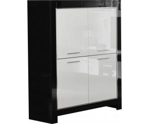 meuble de bar 4 portes noir et blanc baquée DINA