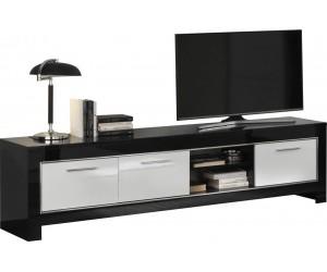 Meuble TV 2 portes 207cm noir et blanc laqué INARI