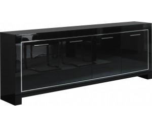 Bahut 4 portes battantes coloris noir laqué ARTEMIS