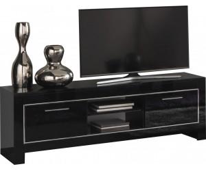 Meuble TV design de160 cm noir laqué ARTEMIS