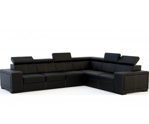Canapé d'angle desing cuir synthétique noir CYRANO