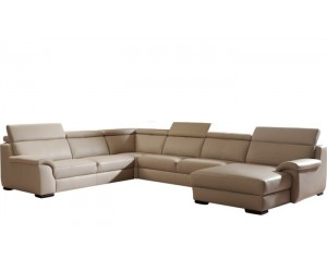 Canapé d'angle design panoramique confortable haut de gamme cuir look cream ELEVANTO