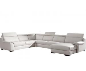 Canapé d'angle design panoramique confortable haut de gamme cuir look blanc ELEVANTO
