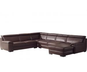 Canapé d'angle design panoramique confortable haut de gamme cuir look brun ELEVANTO