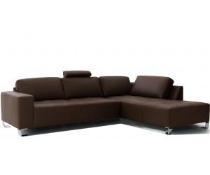 Canapé d'angle design confortable haut de gamme cuir look brun TESLA