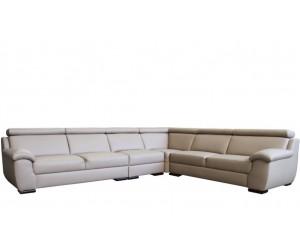 Canape d'angle design eco cuir modulable et têtières relevables en cream BRUXELLES