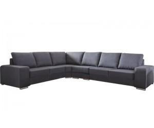 """Canapé d'angle en forme de """"L"""" avec une méridienne à gauche ou droit coloris tissu gris ALAMAK"""