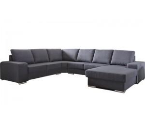 """Canapé d'angle en forme de """"U"""" avec une méridienne à gauche ou droit coloris tissu gris ALAMAK"""