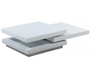 Table basse carrée en MDF avec 3 plateaux pivotants coloris blanc laqué STAR