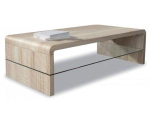 Table basse rectangulaire 120cm en MDF et verre coloris sonoma clair SUNYY