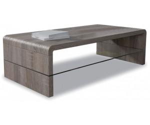 Table basse rectangulaire 120cm en MDF et verre coloris sonoma foncé SUNYY