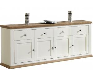Buffet/bahut contemporain 4 portes/4 tiroirs coloris havana/blanc ZOLA