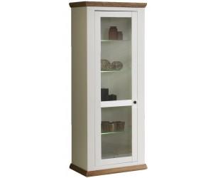 Vitrine 1 porte vitrées contemporaine coloris havana/blanc ZOLA