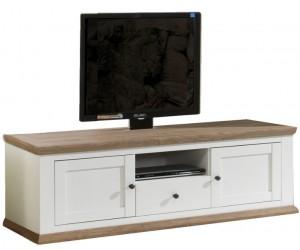 Meuble TV contemporain 160 cm avec 1 niche 1 tiroir et 2 portes coloris havana/blanc ZOLA