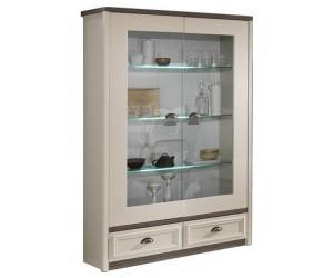 Vitrine 2 portes vitrées contemporaine coloris chêne brun/porcelaine beige ANGELO