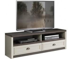 Meuble TV contemporain 150 cm avec 2 niche 2 tiroir coloris chêne brun/porcelaine beige ANGELO