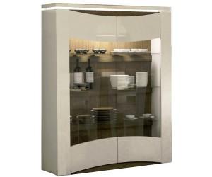 Vitrine 2 portes avec éclairage design coloris blanc laqué et chene foncé TOTTI