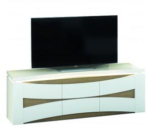 Meuble TV 150 cm avec éclairage design coloris chene foncé et blanc laqué TOTTI-1