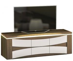 Meuble TV 150 cm avec éclairage design coloris chene foncé et blanc laqué TOTTI-2