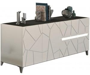 Dressoir haut 2 portes 1 tiroir blanc laqué et imitation ardoise AMELIE