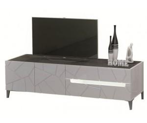 Meuble TV blanc laqué et imitation ardoise design lumineux AMELIE