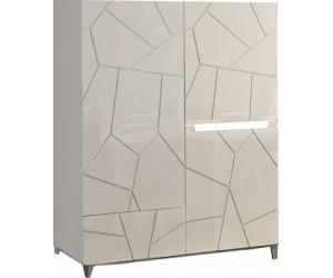 Meuble haut blanc laqué et imitation ardoise 120 cm 3 portes 1 tiroir avec led AMELIE